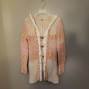 Free People Long Knit Sweater Hooded Small Wool